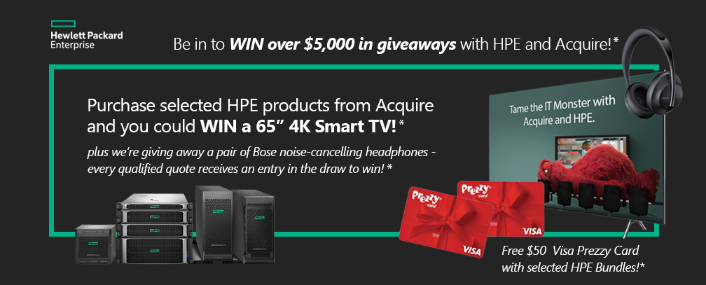 Purchase selected HPE and Aruba from Acquire and you could WIN over $5,000 in giveaways!