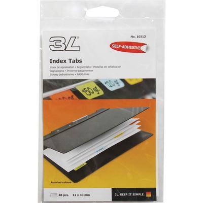 3L Stationery 3L Index Tabs 40mm Coloured Pkt 48