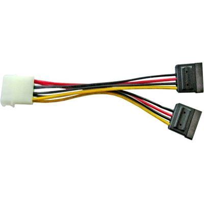 8 Ware Molex Power Splitter Cable 1 x Molex F to 2 x SATA III 15Pin - 15cm