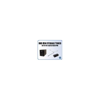 Addonics NAS Mini Storage Tower (black) with 4x1 eSATA/USB HPM