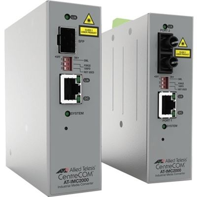 Allied Telesis TAA 10/100/1000T POE+ to 100X/ 1000X SFP Ind Temp GB Media Conv