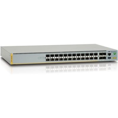 Allied Telesis 24-port 100/1000X SFP stackable switch with 4 SFP+ ports and