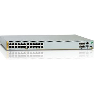 Allied Telesis 24-port 10/100/1000T PoE+ stackable switch with 4 SFP+ ports