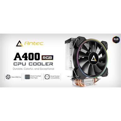 Antec A400 RGB CPU Air Cooler, Direct Heat-Pipies, Silent RGB PWM Fan, Broad Socket