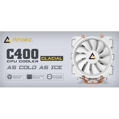 Antec C400 GLACIAL White Air CPU Cooler 77 CFM, Intel 775, 115X, 1366, 2011, 2066