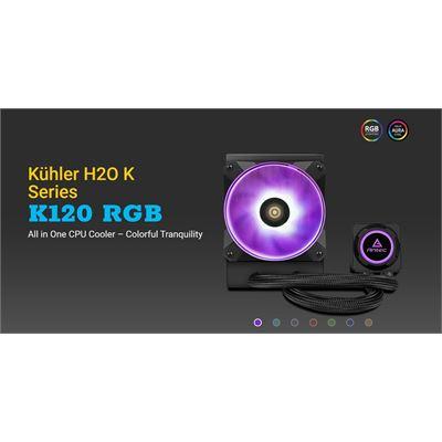 Antec Kuhler K120 RGB All in One CPU Liquid Cooler, LGA 2066, 2011, AMx, FMx. 3 Yr