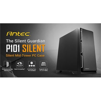 Antec P101 Silent ATX, E-ATX Case, 1x 5.25', 2x 2.5' SSD, 8x 3.5' HDD. VGA up to