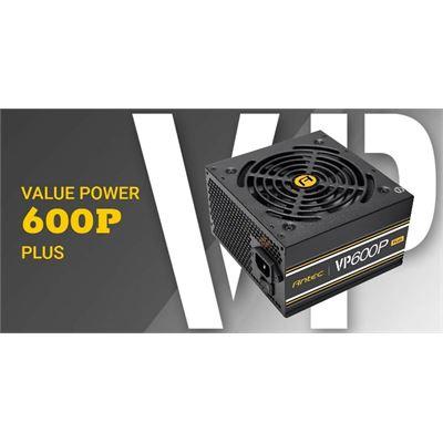 Antec VP600 PLUS 600w PSU. 120mm Silent Fan, PLUS 2019 version. MEPS Compliant. 3