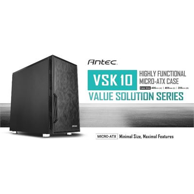 Antec VSK10 mATX Case. 2x USB 3.0 Thermally Advanced Builder's Case. 1x 120mm Fan