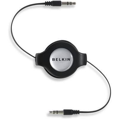 Belkin Iphone/Ipod/Mp3 Retractable Cable 3.5Mm/3.5Mm; 4.5'Black