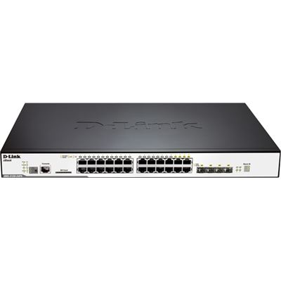 D-Link 24-Port 10/100/1000Mbps & 4-Port Combo SFP L2 Stackable Managed Switch with POE