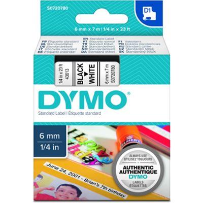 Dymo TAPE D1 6MMX7M BLK/WHT