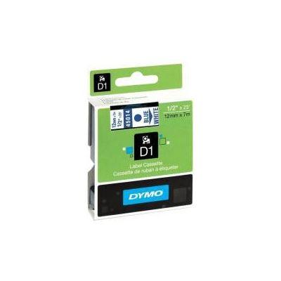 Dymo Easy Peel Split Back 12mm D1 Tape/ 12mm X 7m/ Blue on White/ Single cassette