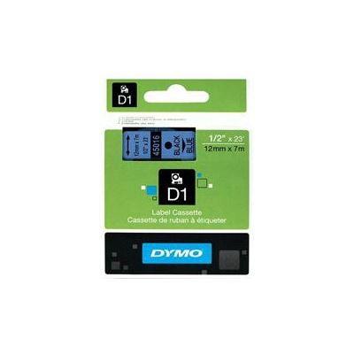 Dymo Easy Peel Split Back 12mm D1 Tape/ 12mm X 7m/ Black on Blue/ Single cassette