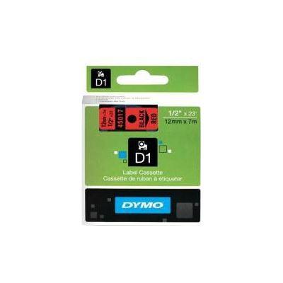 Dymo Easy Peel Split Back 12mm D1 Tape/ 12mm X 7m/ Black on Red/ Single cassette