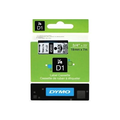 Dymo Easy Peel Split Back 19mm D1 Tape/ 19mm X 7m/ Black on Clear/ Single cassette
