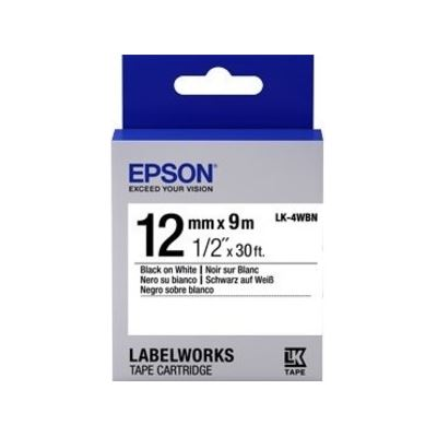 Epson TAPE STANDARD 12MM BLACK ON WHITE 9 METRES