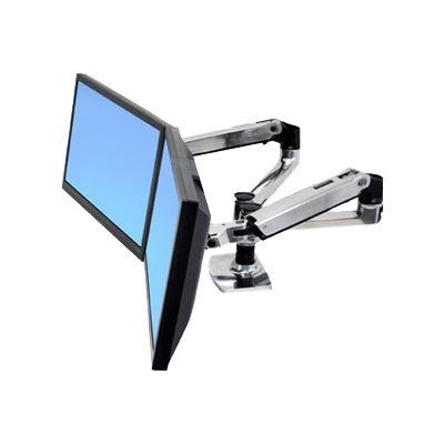 Ergorest Ergotron LX Dual Side by Side Arm Desk Mount Polished Aluminium Mounting Arm