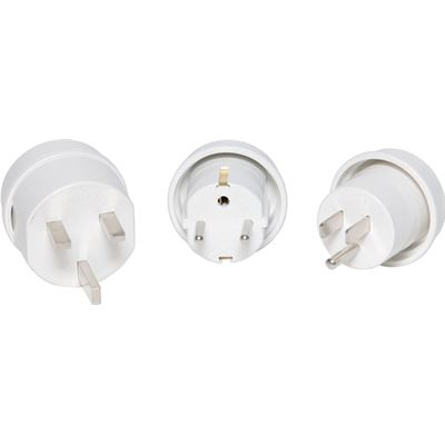 Jackson Pack of 3 Travel Adapters NZ/AU Socket to US, UK, Europe Plug Suitable for over