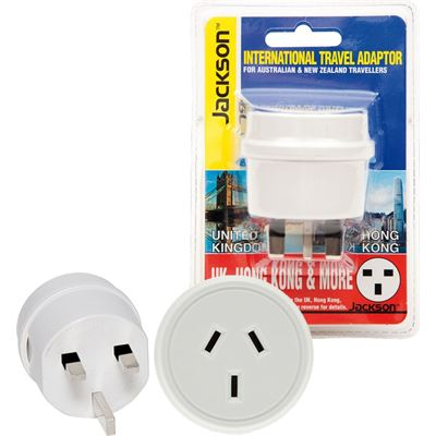 Jackson Industries JACKSON Outbound Travel Adaptor. Converts NZ/Aust Plugs for use in UK & Hong