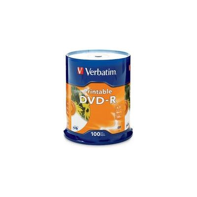 Verbatim DVD-R 100Pk Spindle - White InkJet Printable - 4.7GB 16x