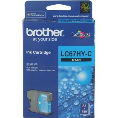 Brother LC67HYC Hi capacity cyan cartridgeIncludes LC67hyc750 page yield at 5% coverage