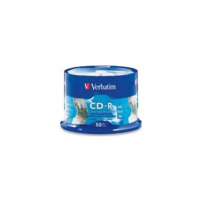 Verbatim CD-R 50pk Spindle - IJ Printable Silver - 52x 80min P-Cyanine