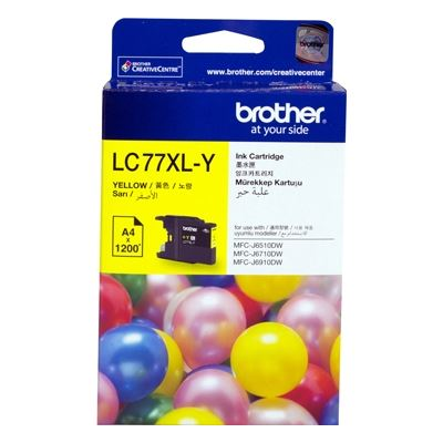 Brother LC77XLY, Yellow Super High Yield Inkjet Cartridge, 1200 pages @ 5%