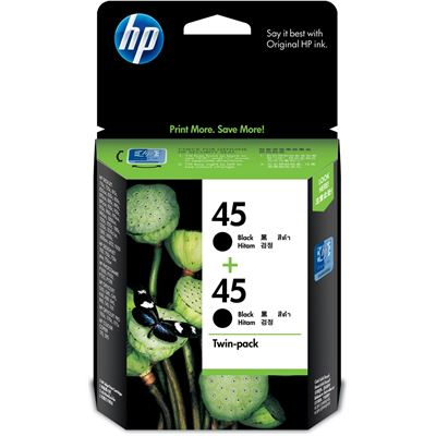 HP 45 Black Inkjet Crtg Twin Pack