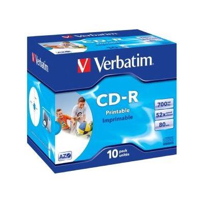Verbatim CD-R 10pk Jewel Case - IJ Printable Wide - 52x 80 Min P-Cyanine