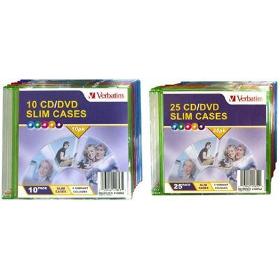 Verbatim CD/DVD 25pk Empty Coloured Slim Cases