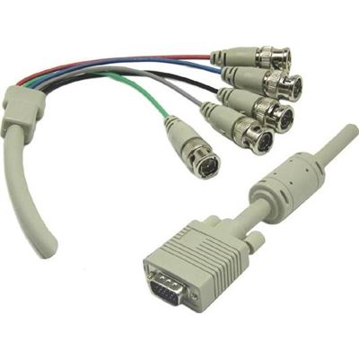 DYNAMIX 2m VGA to BNC Cable with Ferrite Core. HD DB15 Male to 5x BNC