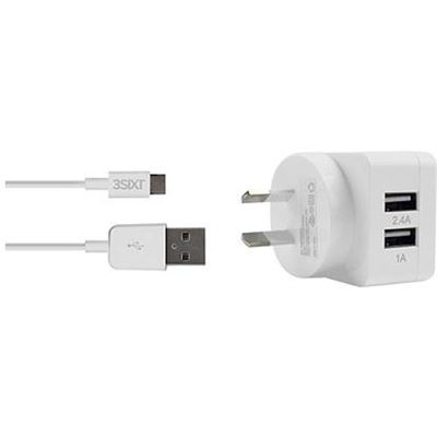 3SIXT Dual USB AC Charger 3.4A - Micro USB - 1.0m - White
