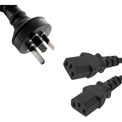 8 Ware Power Cable from 3-Pin AU Male to 2 IEC C13 Female plug in 1m