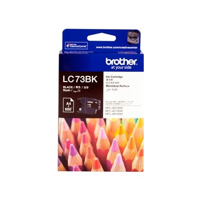 Brother LC73BK, Black High Yield Inkjet Cartridge, 600 pages @ 5%