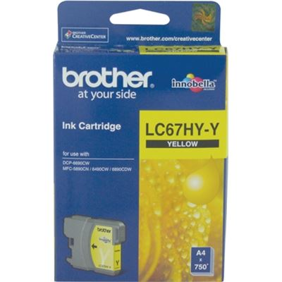 Brother LC67HYY Hi capacity yellow cartridgeIncludes LC67HYY750 page yield at 5%