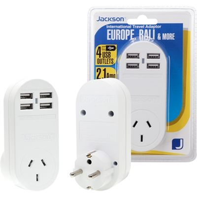 Jackson Industries JACKSON Outbound Travel Adaptor With 4x USB Charging Port (2.1A total)