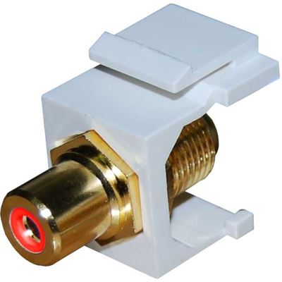 Dynamix Red RCA to RCA Keystone Adapter. Gold Platformsed