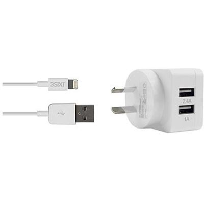3SIXT Dual USB AC Charger 3.4A - Lightning - White