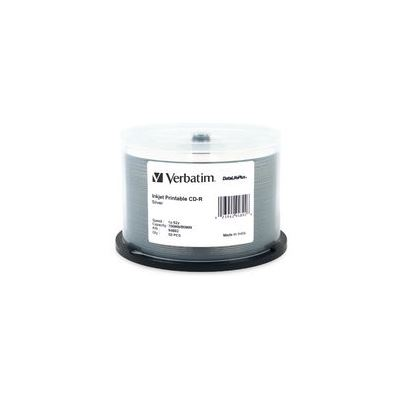Verbatim CD-R 50pk Spindle - IJ Printable Silver - 52x 80min Blue Azo