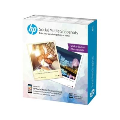 HP Social Media Snapshots Removable Sticky Photo Paper-25 sht/4 x 5 inch