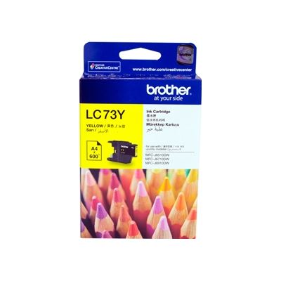 Brother LC73Y, Yellow High Yield Inkjet Cartridge, 600 pages @ 5%