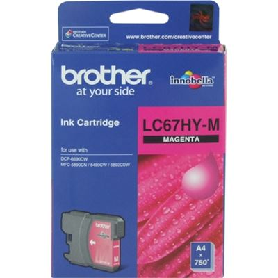 Brother LC67HYM Hi capacity Magenta cartridgeIncludes Lc67hym750 page yield at 5%