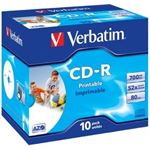 Verbatim CD-R 10pk Jewel Case - IJ Printable Wide - 52x 80 Min P-Cyanine