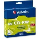 Verbatim CD-RW 5pk Slim Case - 4x - 12x