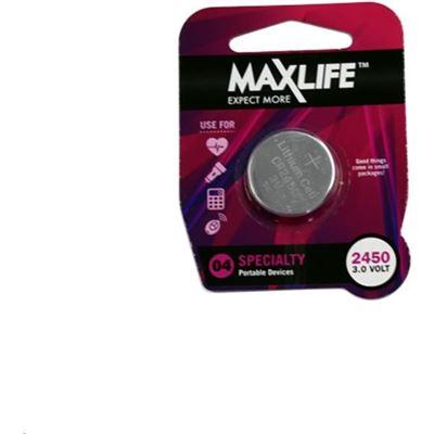 Maxlife CR2450 Lithium Button Cell Battery. 1Pk (BAT2450)