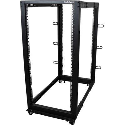 StarTech.com 25U Adjustable Depth Open Frame 4 Post Server Rack Cabinet - Flat Pack w/