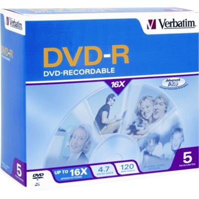 Verbatim DVD-R 5pk Jewel Case - 4.7GB 16x